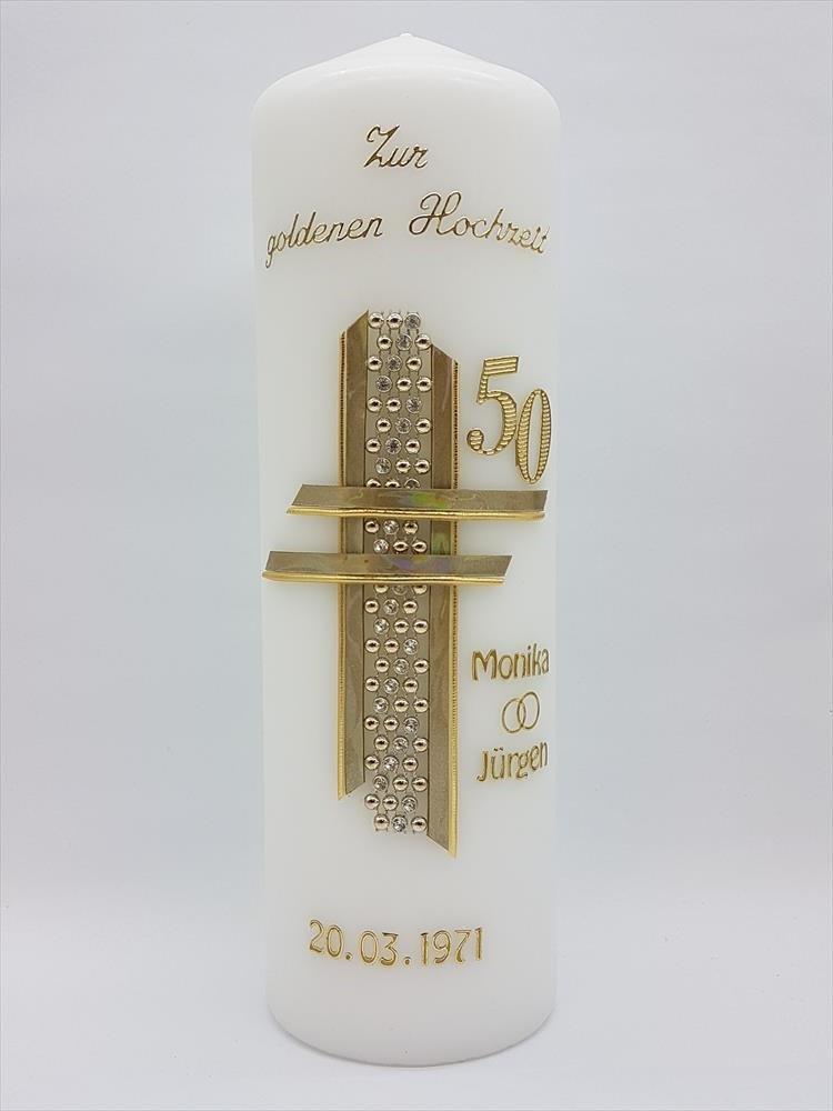 Goldene hochzeit geschenk kerze goldene hochzeit for Goldene hochzeit tischdeko