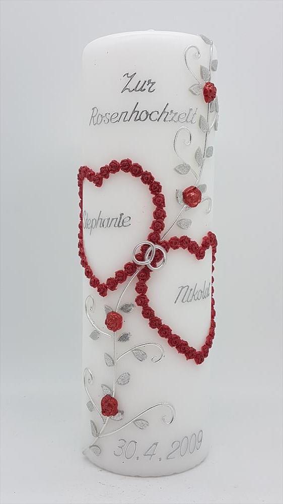 Rosenhochzeit Geschenk Rosenhochzeit Kerze Tischdeko Rosenhochzeit